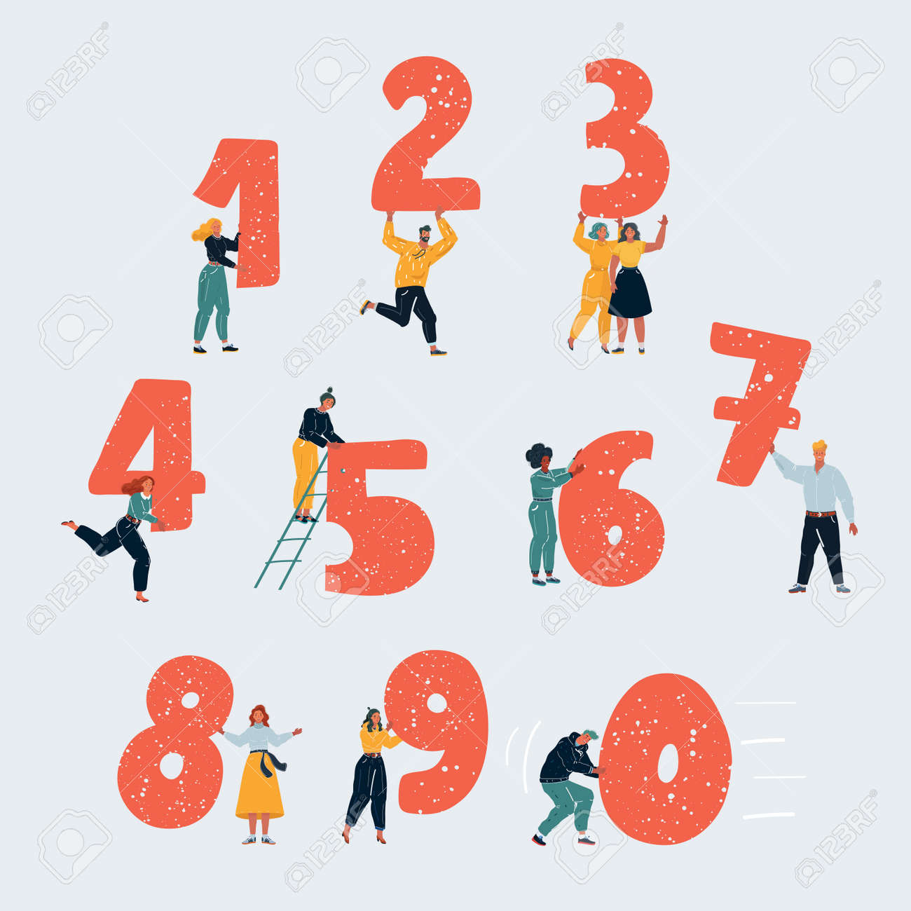 Vector illustration of little people with numbers. Tiny people with one, two, thee, four, five, six, seven, eight, nine, zero on white background. - 161049644