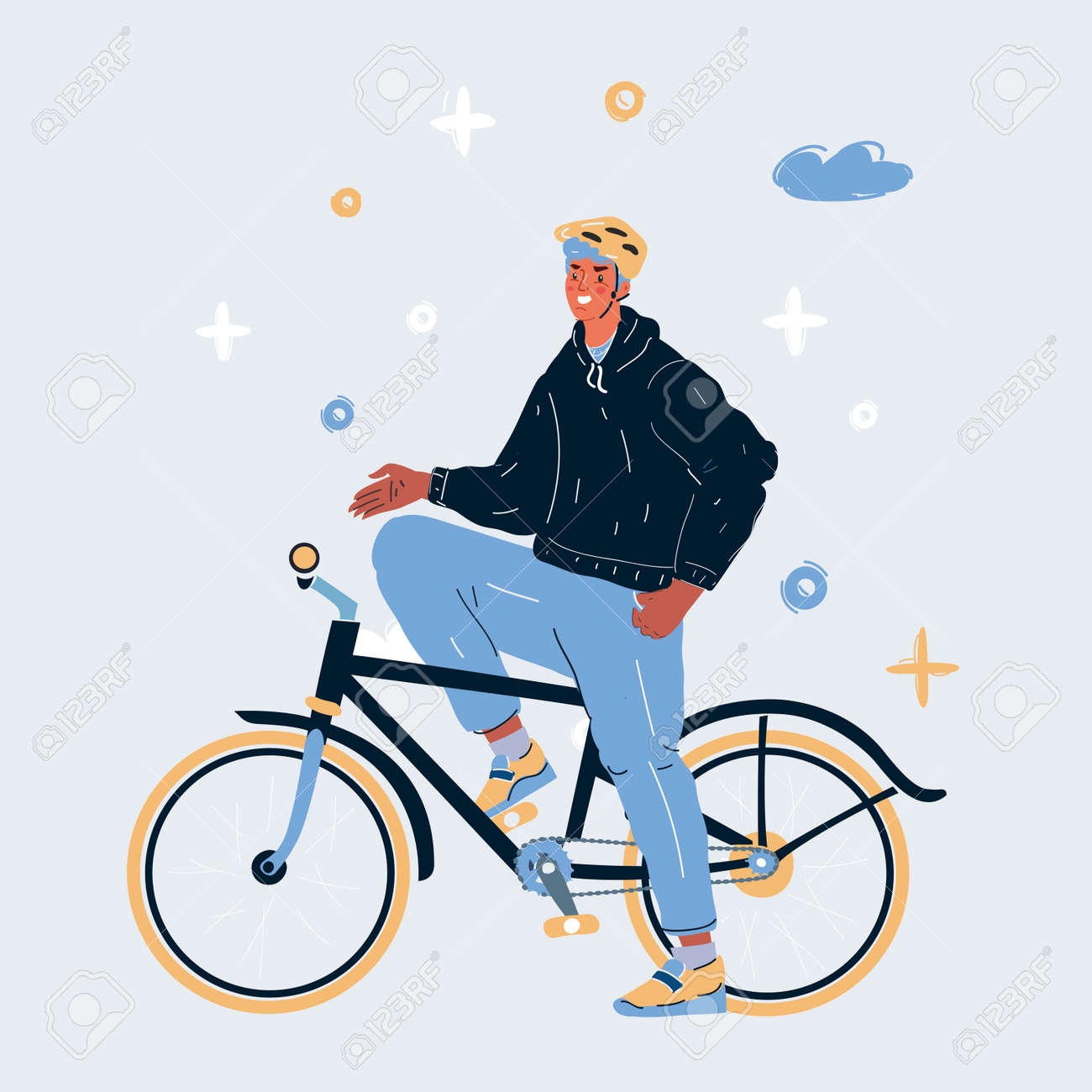 Vector illustration of man on a bike - 167734503
