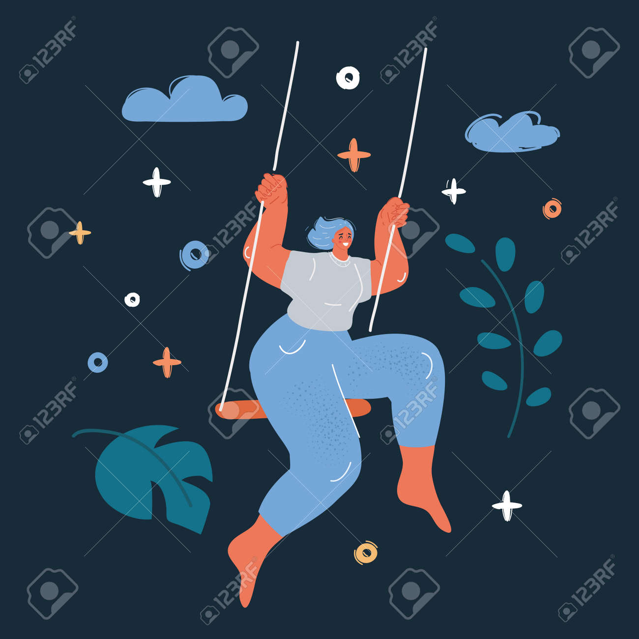 Vector illustration of girl swing over dark backround. - 172117034