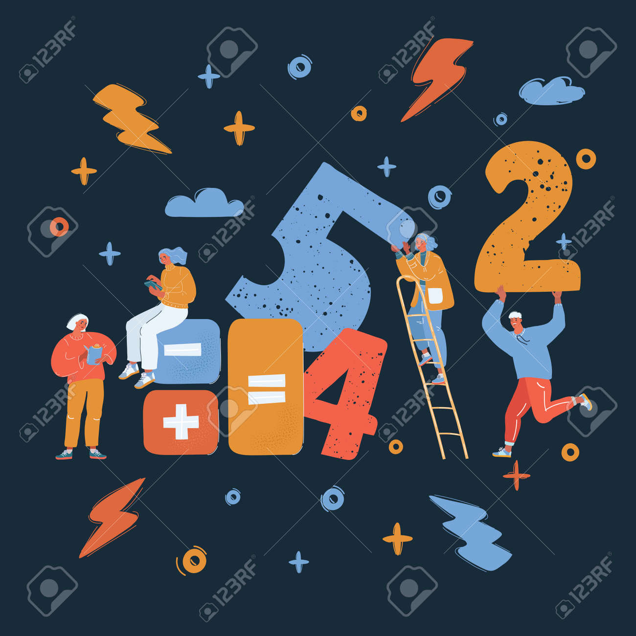 Vector illustration of people get togetehr in team for working with big number, they count - 173813846
