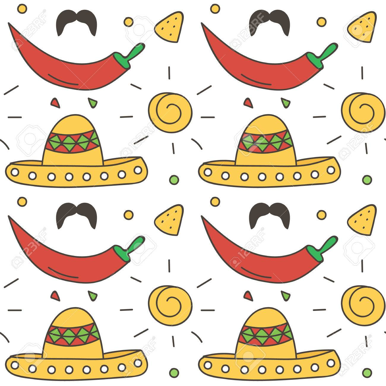 Mexican Seamless Pattern Background With Sun 4c13bc99239