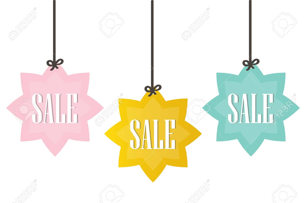 cute colorful sale price tags labels isolated on white background