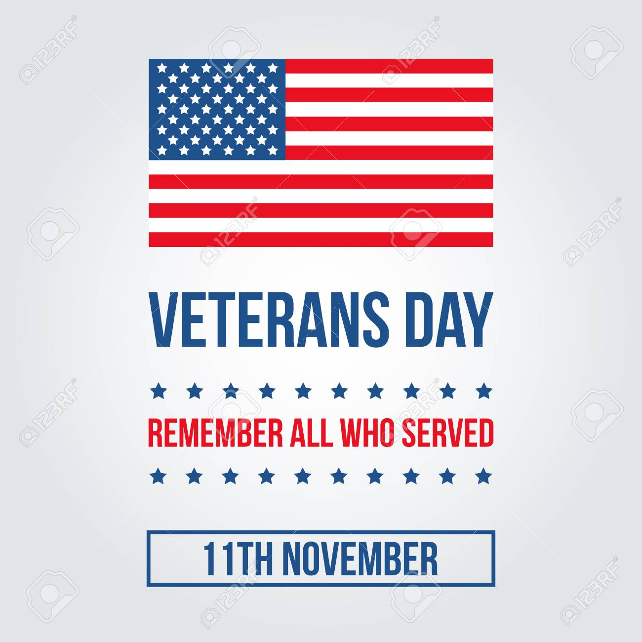 veterans day card with american flag template background royalty