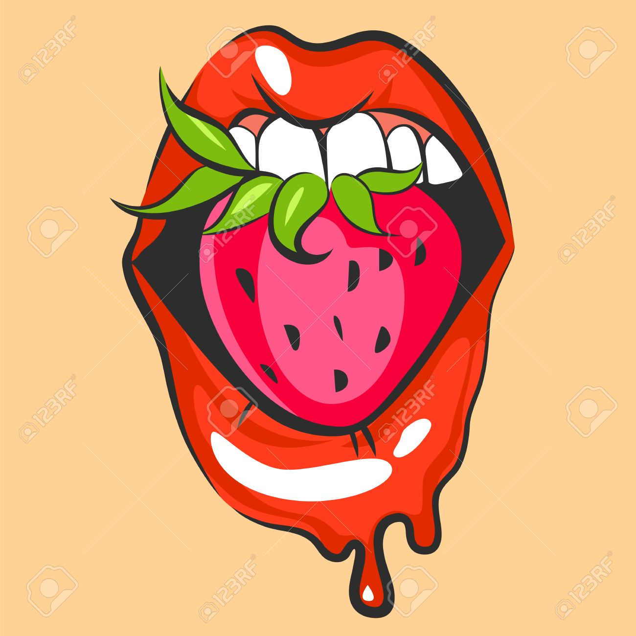 Sexy Lips With Sweet Strawberry Pop Art Mouth Biting Pink Berry Royalty Free Cliparts Vectors And Stock Illustration Image 67963658