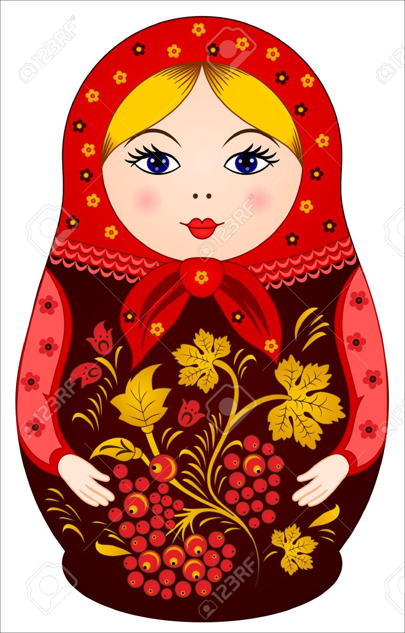 a461390dab41 Traditional Russian Doll Matryoshka in Khokhloma style with berries Stock  Vector - 29813100