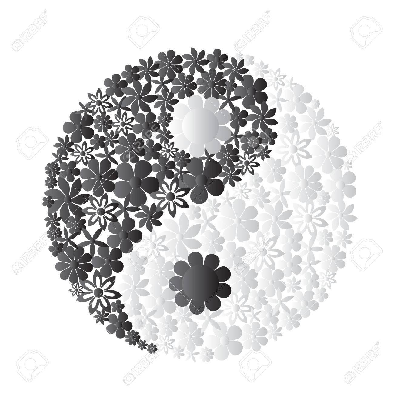 Banque d\u0027images , Symbole Yin Yang est composée de fleurs