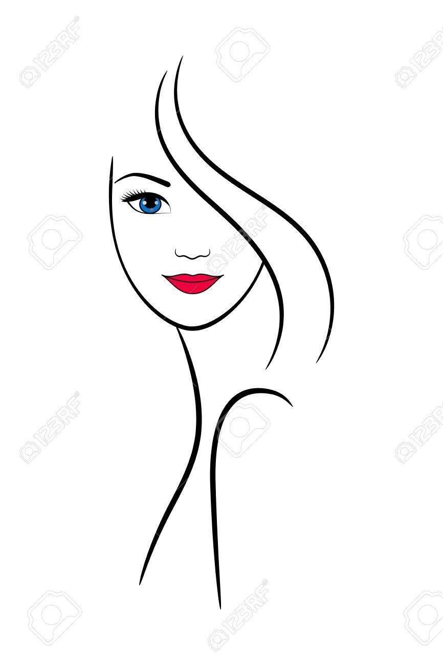 Contour Weibliches Gesicht Für Wellness- Und Beauty-Salon Dekoration ...