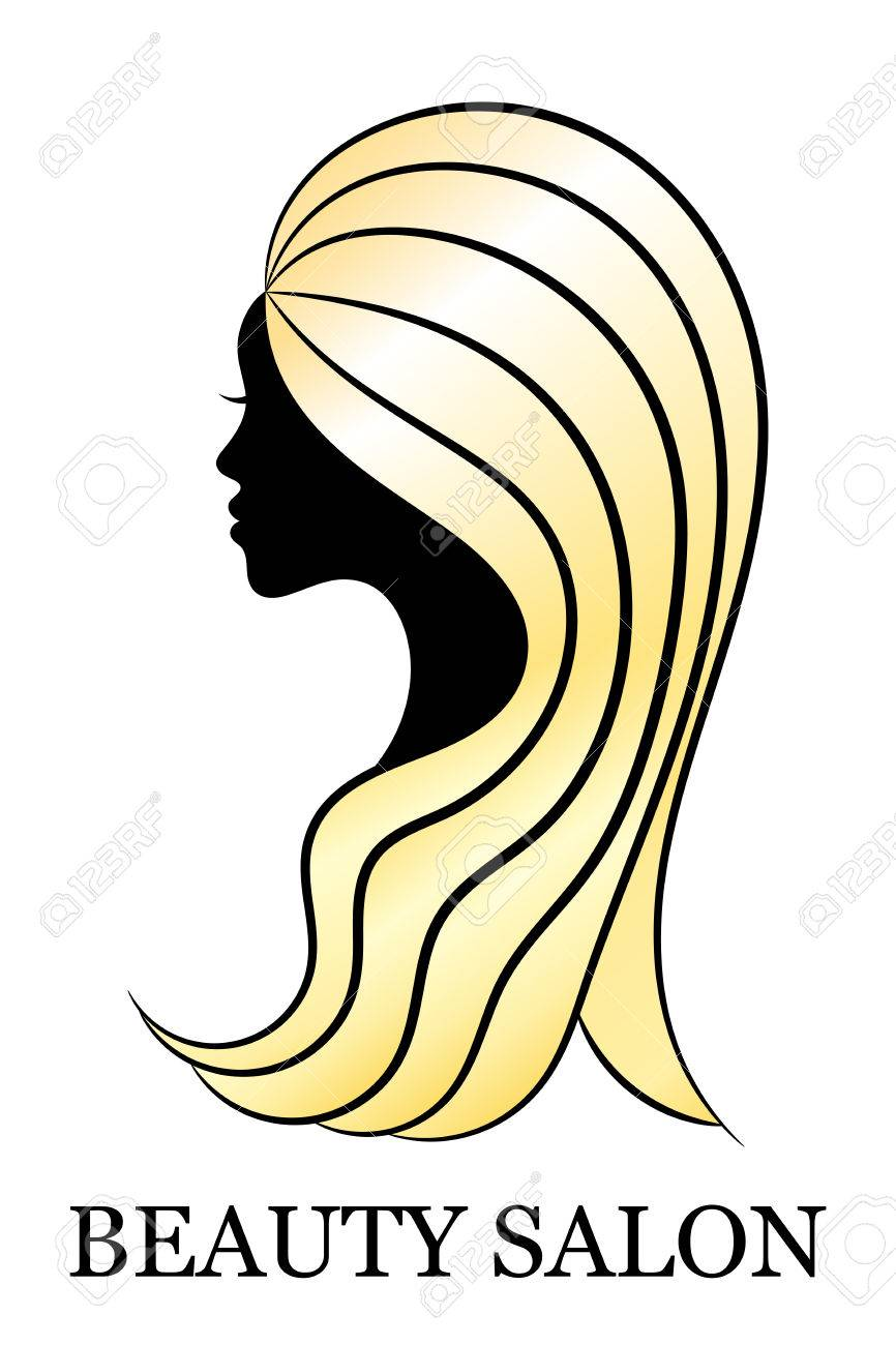 Cut Female Profile With Golden Hair For Spa And Beauty Salon ...