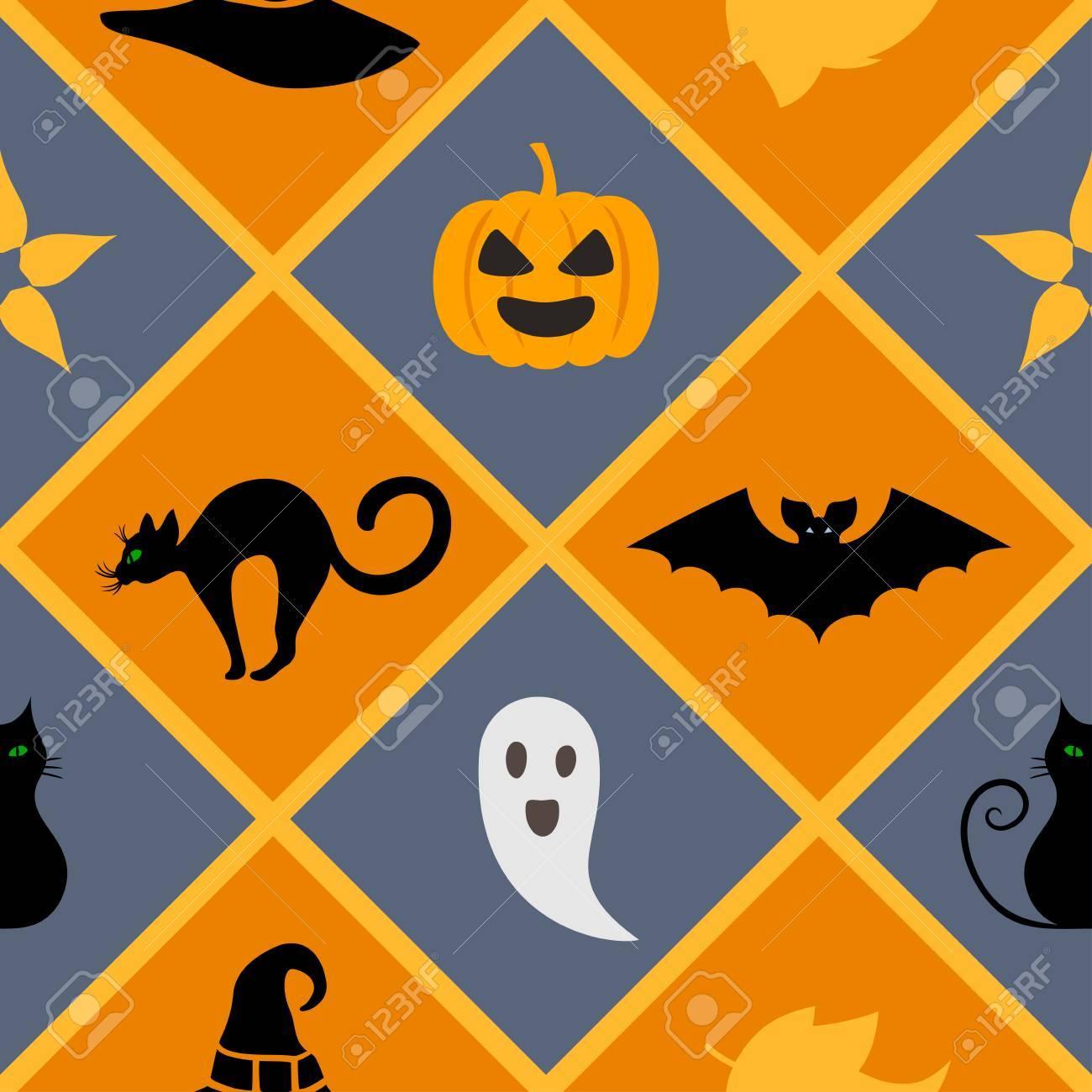 Seamless Geometric Pattern With Halloween Symbols Cat Hat Bat Ghost Leaves