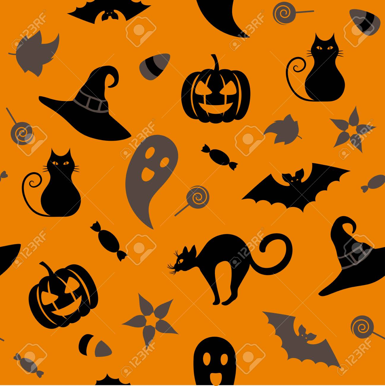 Seamless Halloween Pattern With Traditional Symbols Cat Hat Bat Ghost Leaves