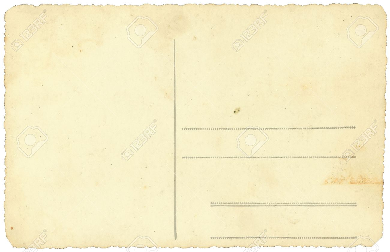 stock photo vintage postcard background isolated on white