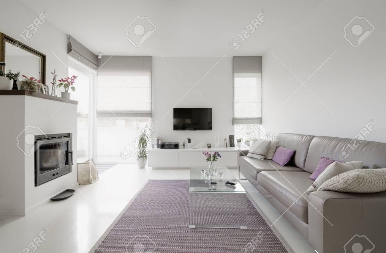 L\'image D\'un Salon Moderne Avec Canapé Taupe Banque D\'Images Et ...