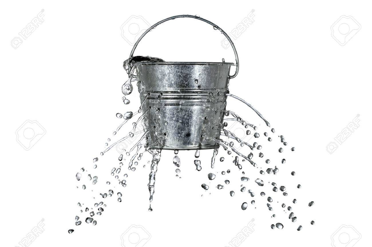 water is coming out of a bucket with holes Stock Photo - 23860032