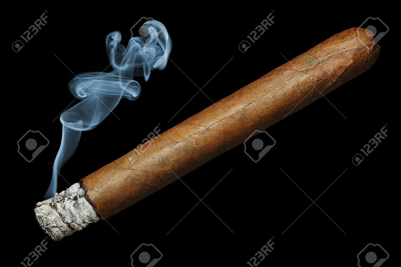 cigar with smoke isolated on black background - 27920523