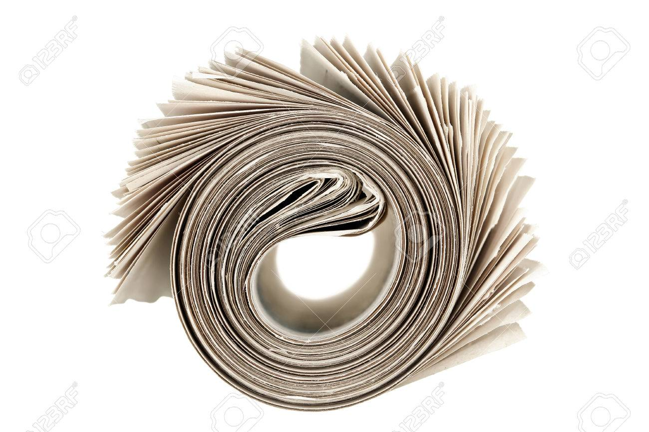 rolled newspaper isolated on white - 30907121