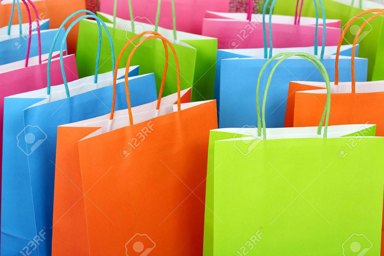 close up of colorful paper shopping bags - 42896781