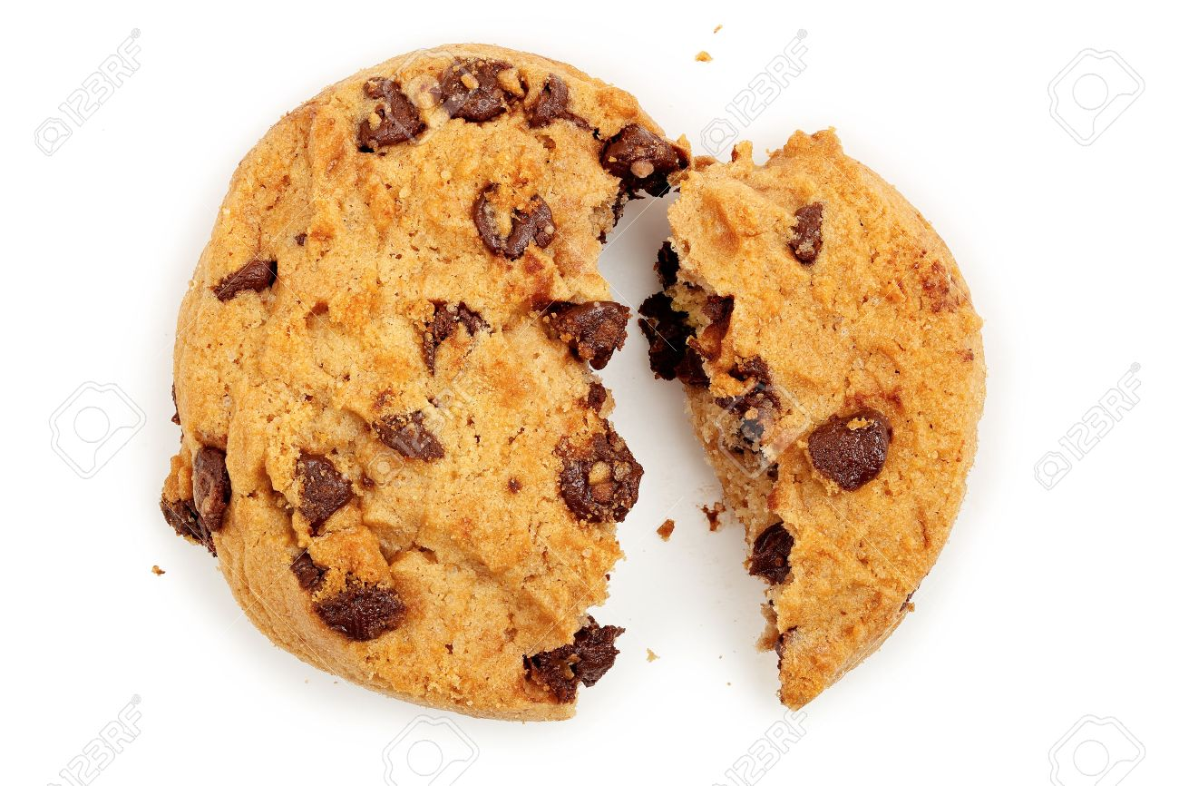 macro of broken chocolate chip cookie isolated on white - 43950083