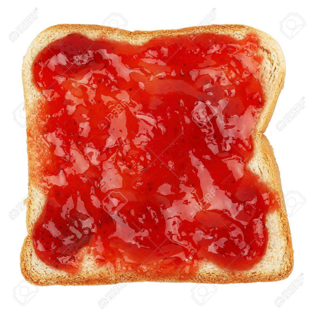 strawberry marmalade on bread slice isolated on white - 45882026