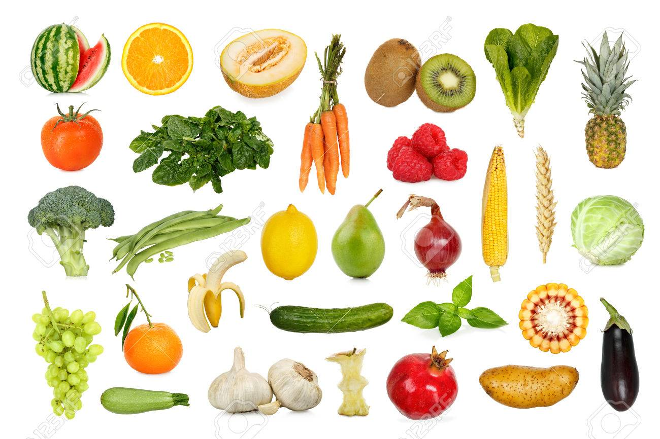 collection of fruits and vegetables isolated on white - 47682556