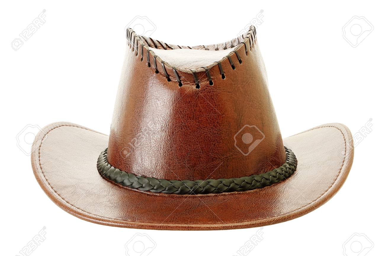 bcf8625a5bea0 leather cowboy hat isolated on white Stock Photo - 73189196
