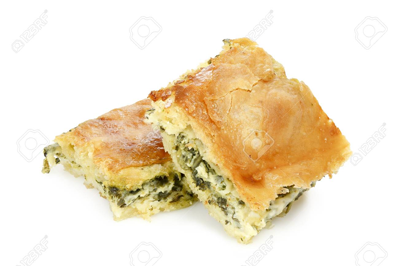 spinach pie or spanakopita with spinach and feta cheese, greek traditional dessert - 89275182
