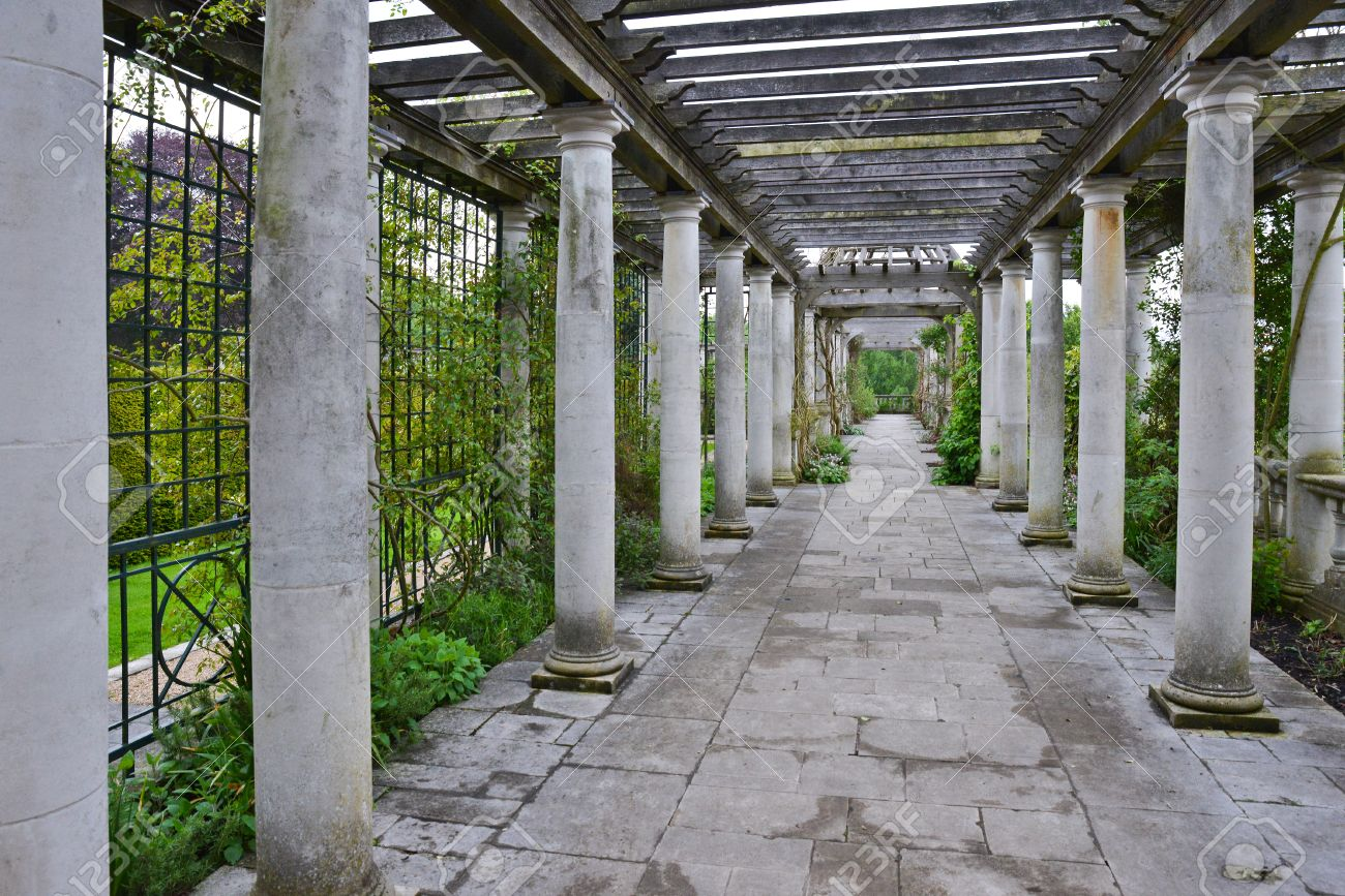 Entry Of Concrete Columns The Garden Stock Photo Picture And