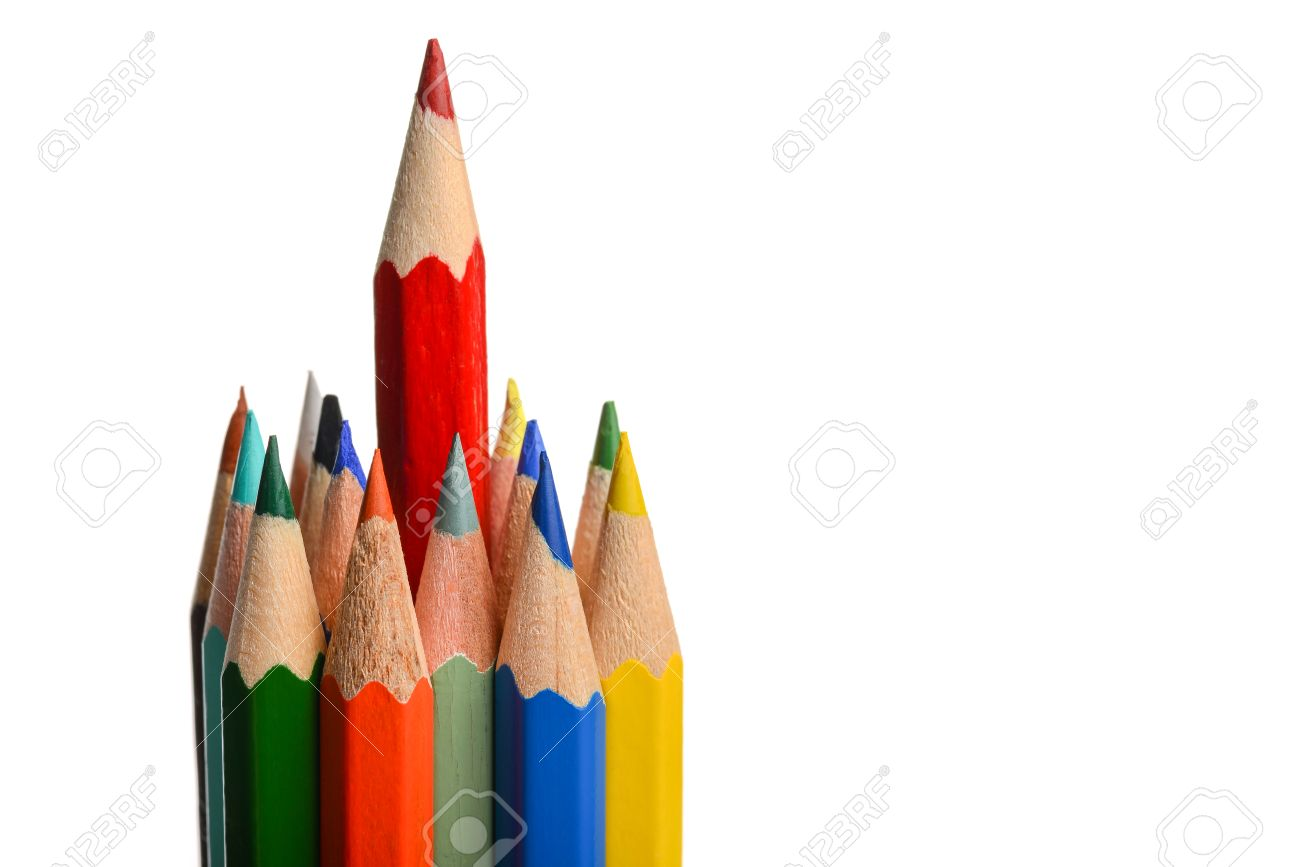 Group Of Coloring Crayons Isolated In White Stock Photo, Picture And ...