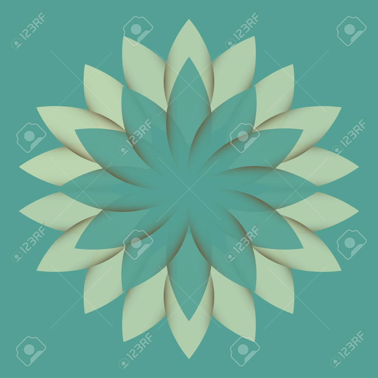 Beautiful Lotus Flower Color Wheel Mandala Oriental Round Element For Design Logo Template