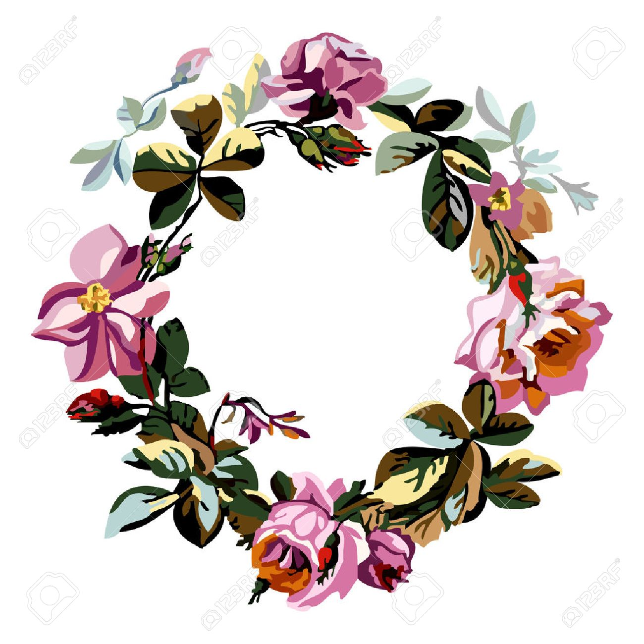Vector round frame with pink flowers on white background in pastel - Vector Colorful Illustration Of A Beautiful Floral Wreath With Roses And Central White Background For Your