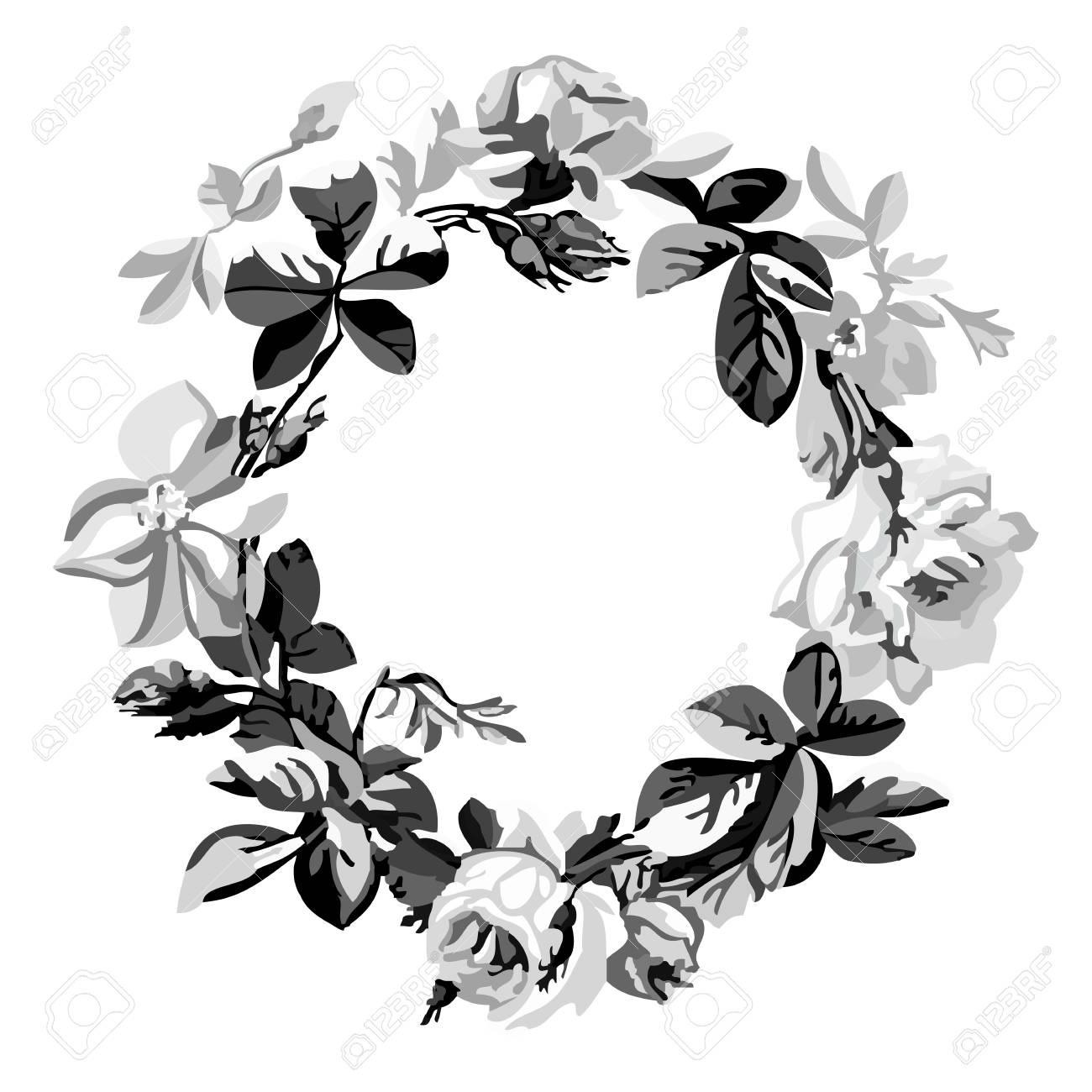 Vector Ilustración En Blanco Y Negro De Una Hermosa Corona De Flores