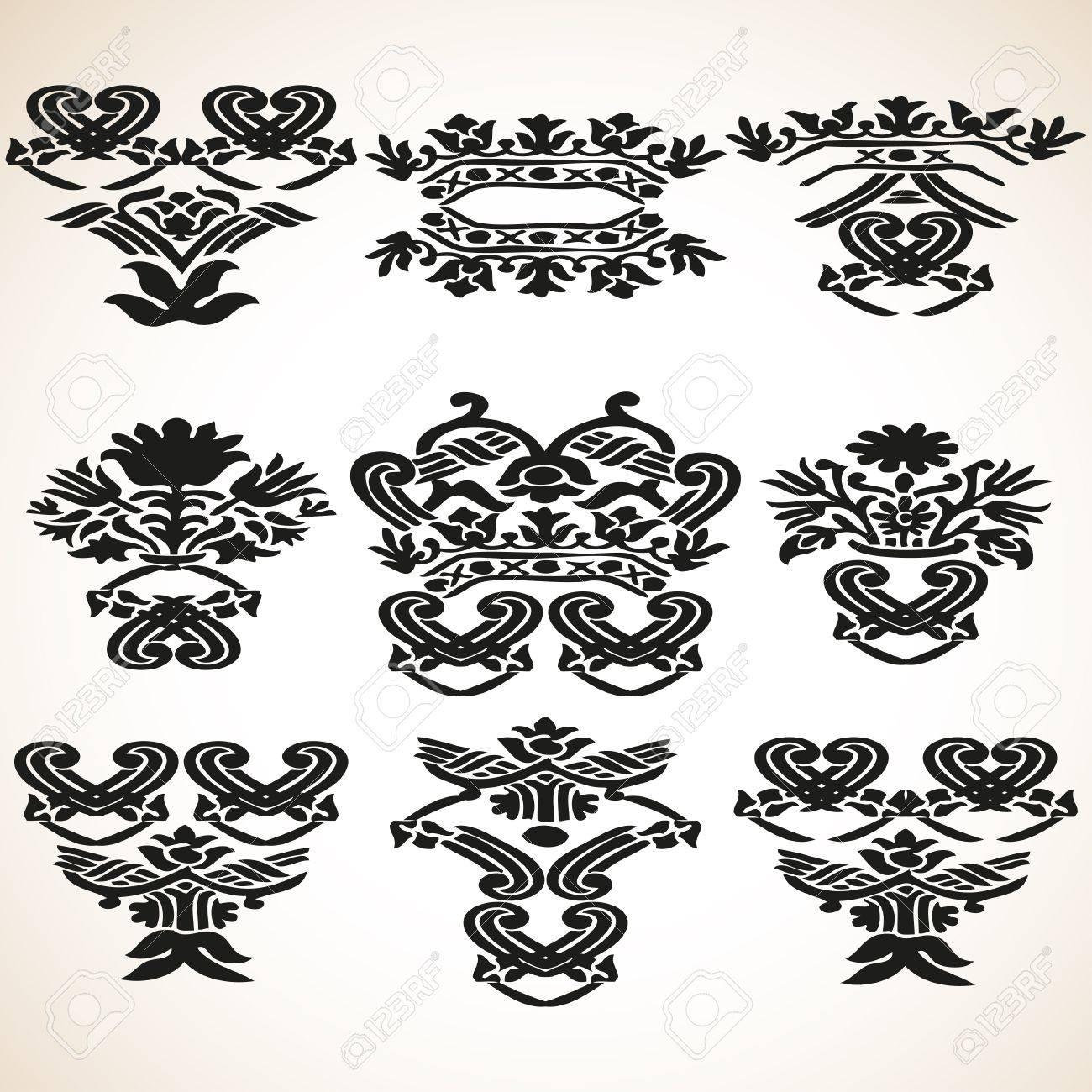 Vector Conjunto Añada Elementos Florales Gráficos Para El Diseño ...