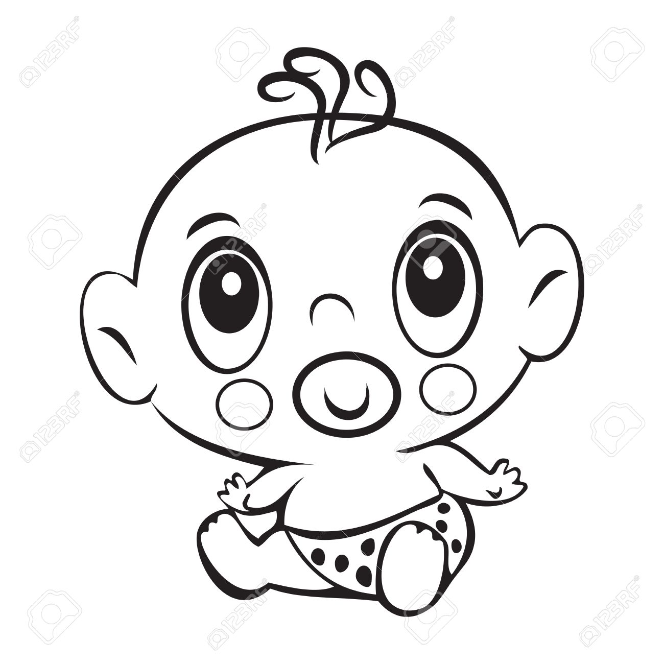 Funny Baby Boy Cute Baby Boy Sitting In A Diaper Isolated For