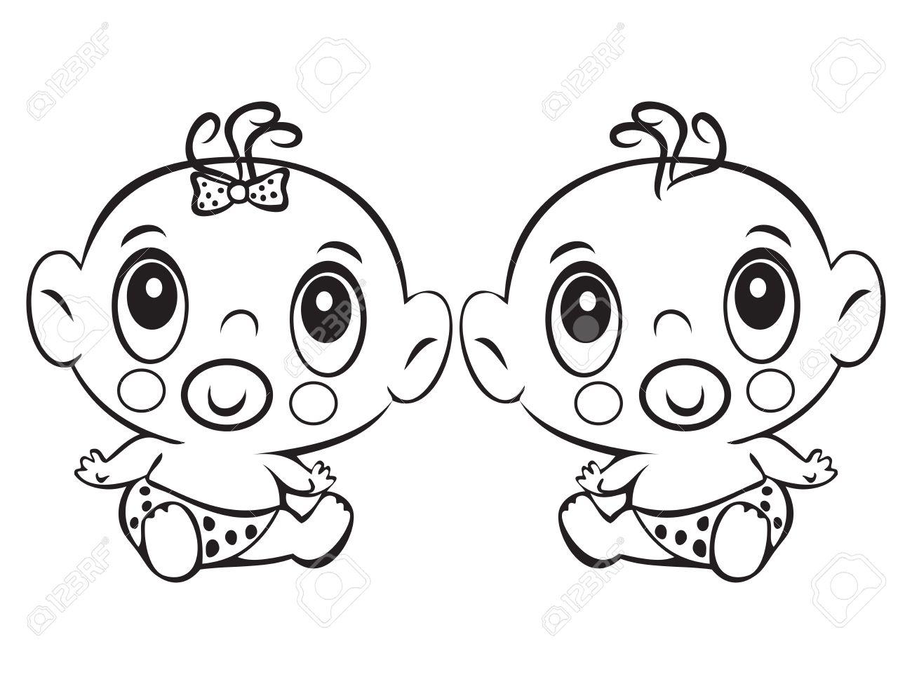 Dos Bebé Divertido Que Se Sienta. Cute Niño Y La Niña Sentada En Un ...
