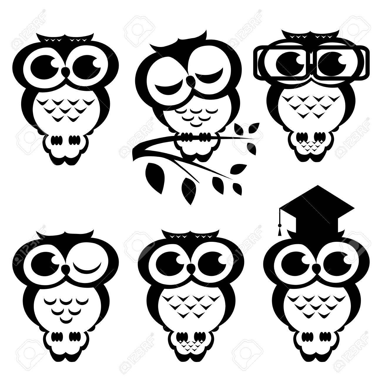 Conjunto De Los Búhos Ilustración De Dibujos Animados Ilustraciones
