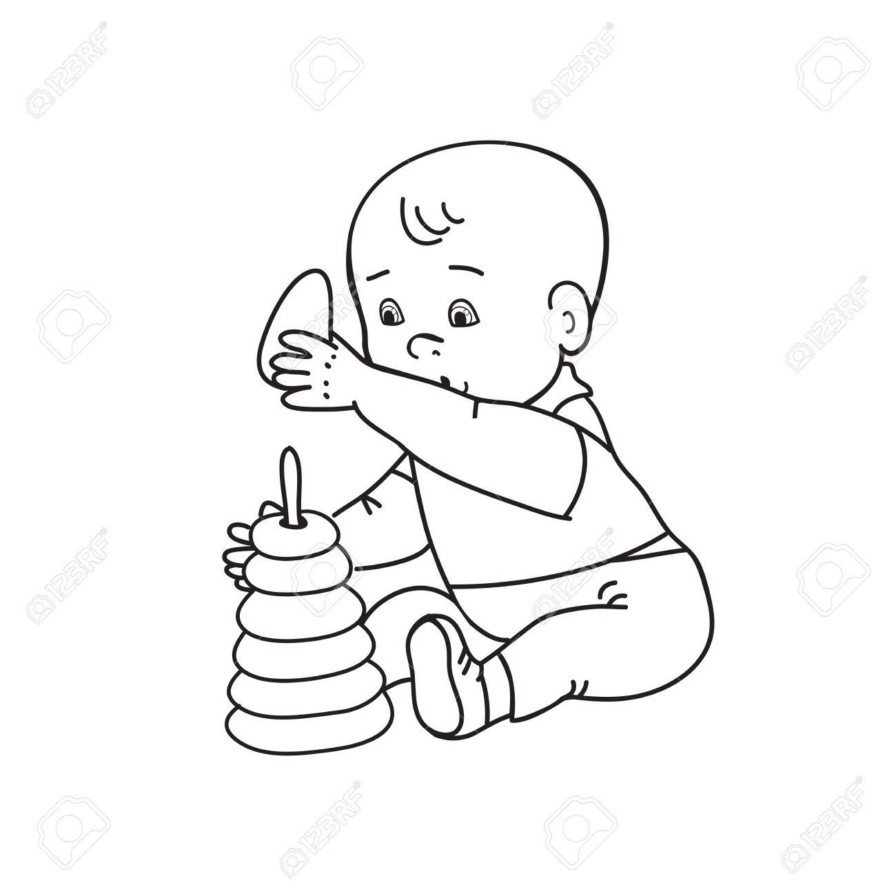 Dessin Bébé Garçon peu beau bébé garçon jouant avec des jouets. kid joue avec pyramide