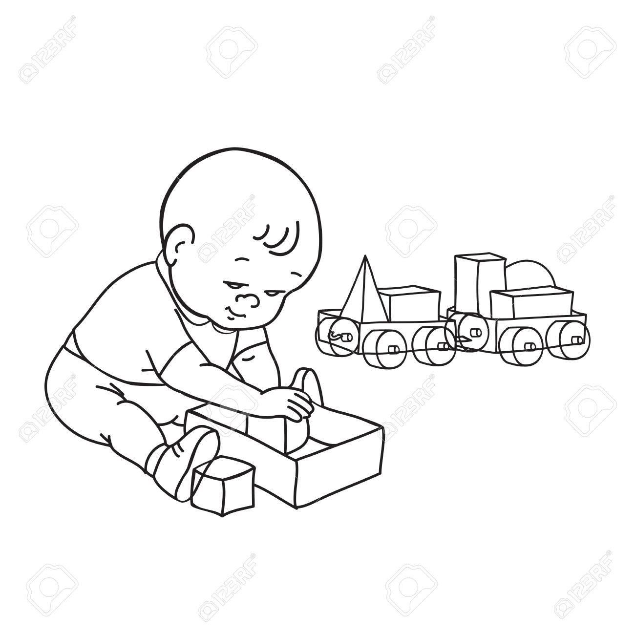 El Pequeño Bebé Precioso Jugando Con Juguetes. Niño Juega Con El ...