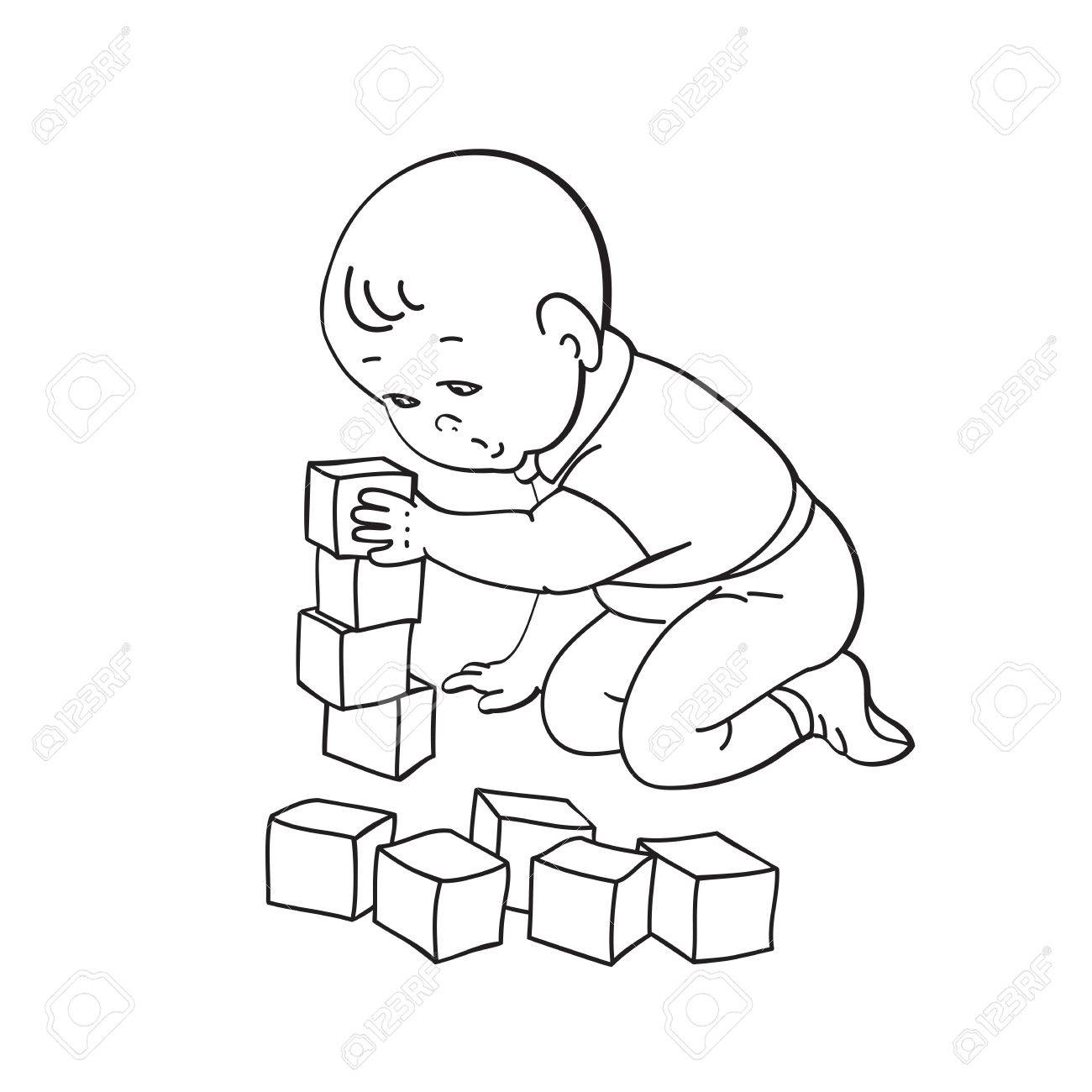 little lovely baby boy playing with toys. kid plays with pyramid