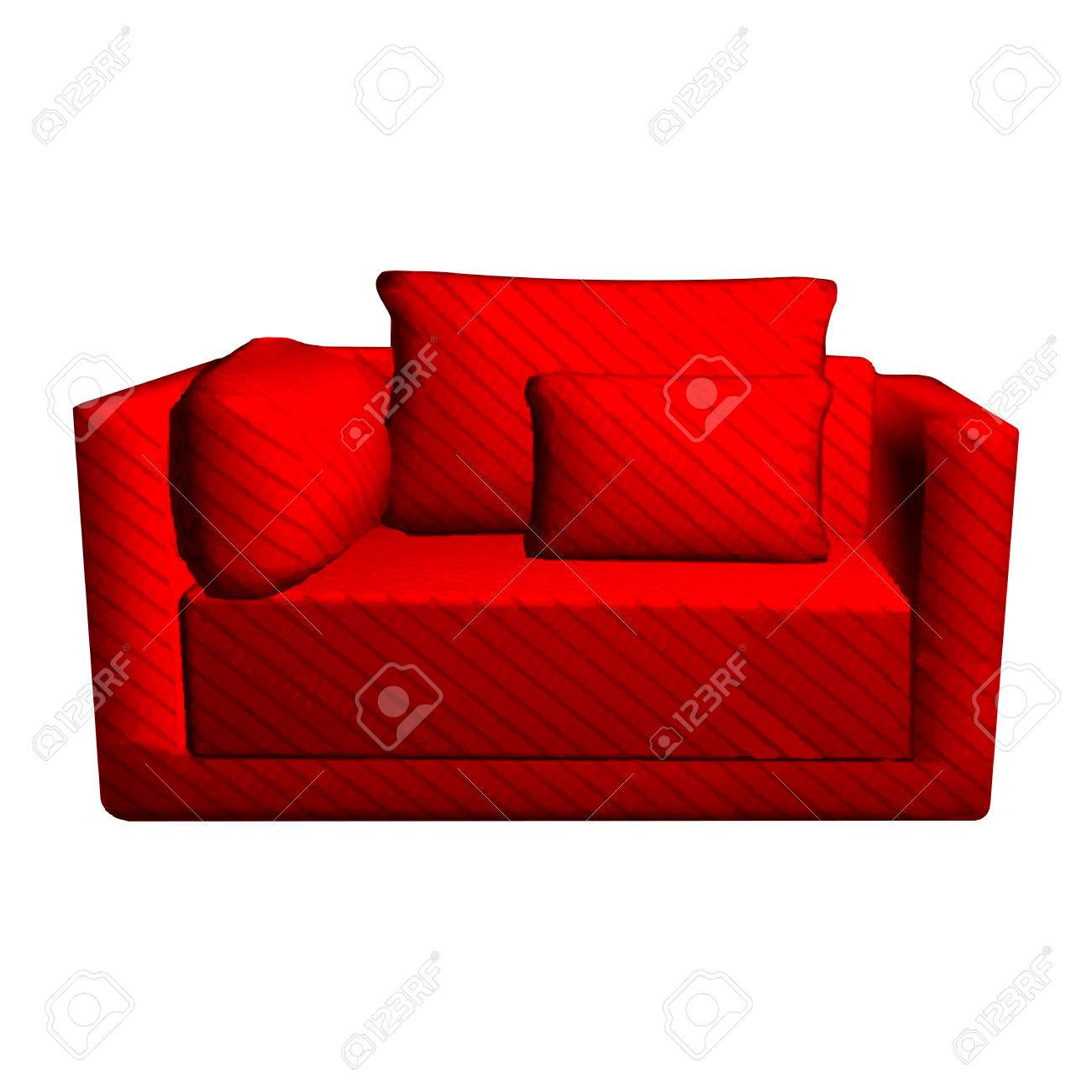 Vector leather red Sofa with pillows isolated on white background...