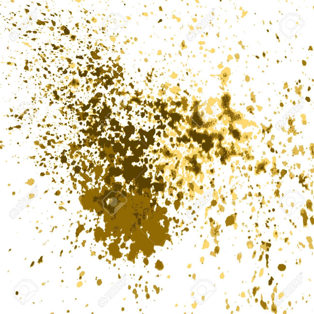 vector gold farbe spritzen, splatter und klecks glänzend auf weißem
