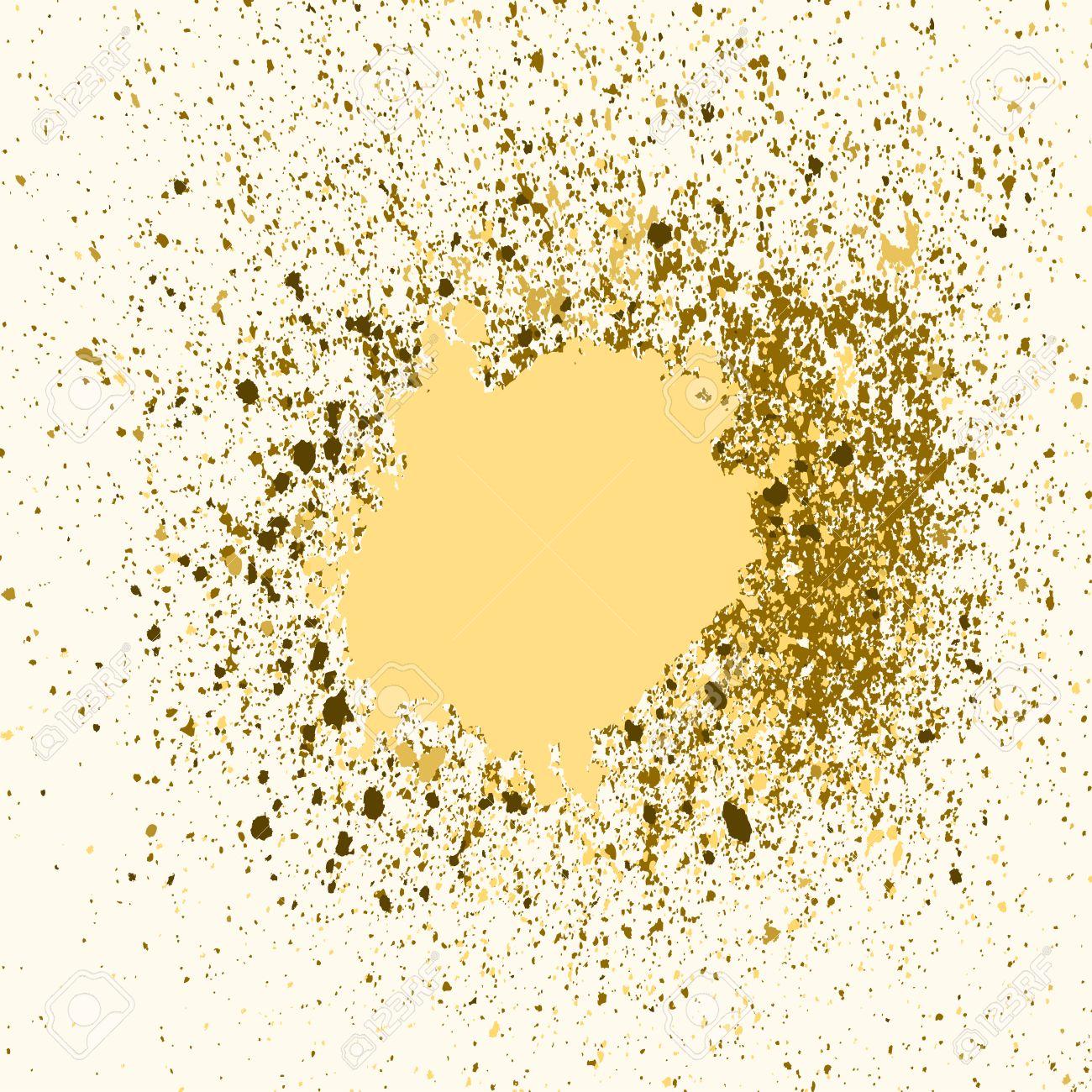 vector gold farbe spritzen, splatter und klecks auf weißem