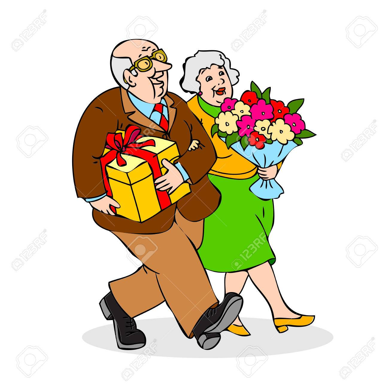 happy elderly couple with a bouquet of flowers and a gift funny