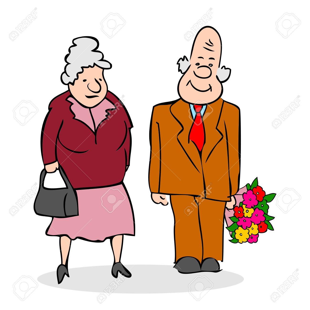 happy elderly couple old man with a bouquet of flowers elderly rh 123rf com