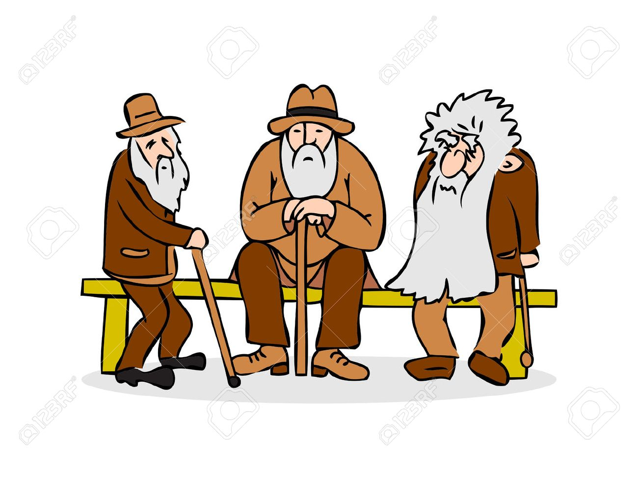 Lustige Drei Alte Manner Auf Der Bank Sitzen Alter Mann Mit Hut Und