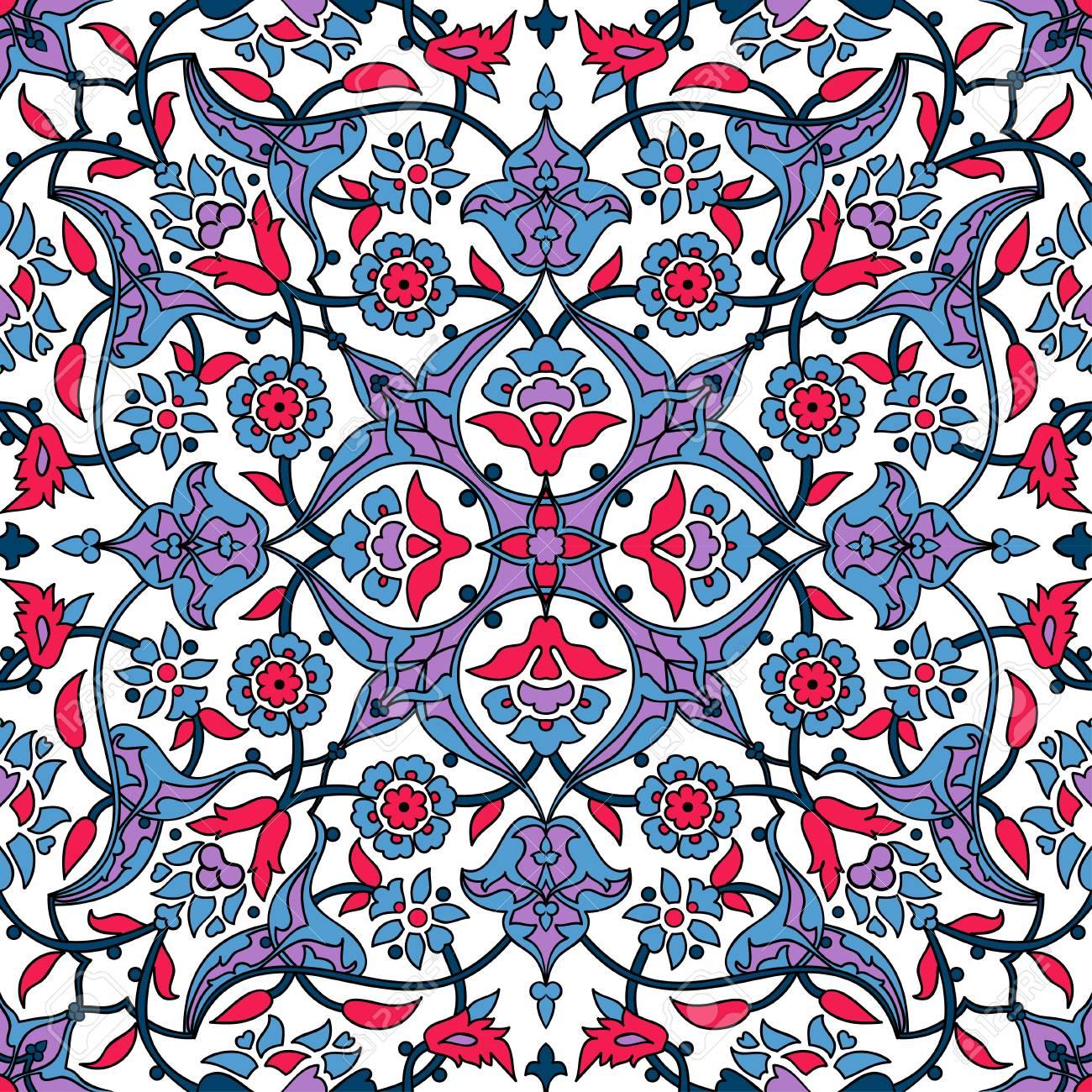 Fleurs Stylisees Papier Peint Oriental Retro Seamless Abstrait