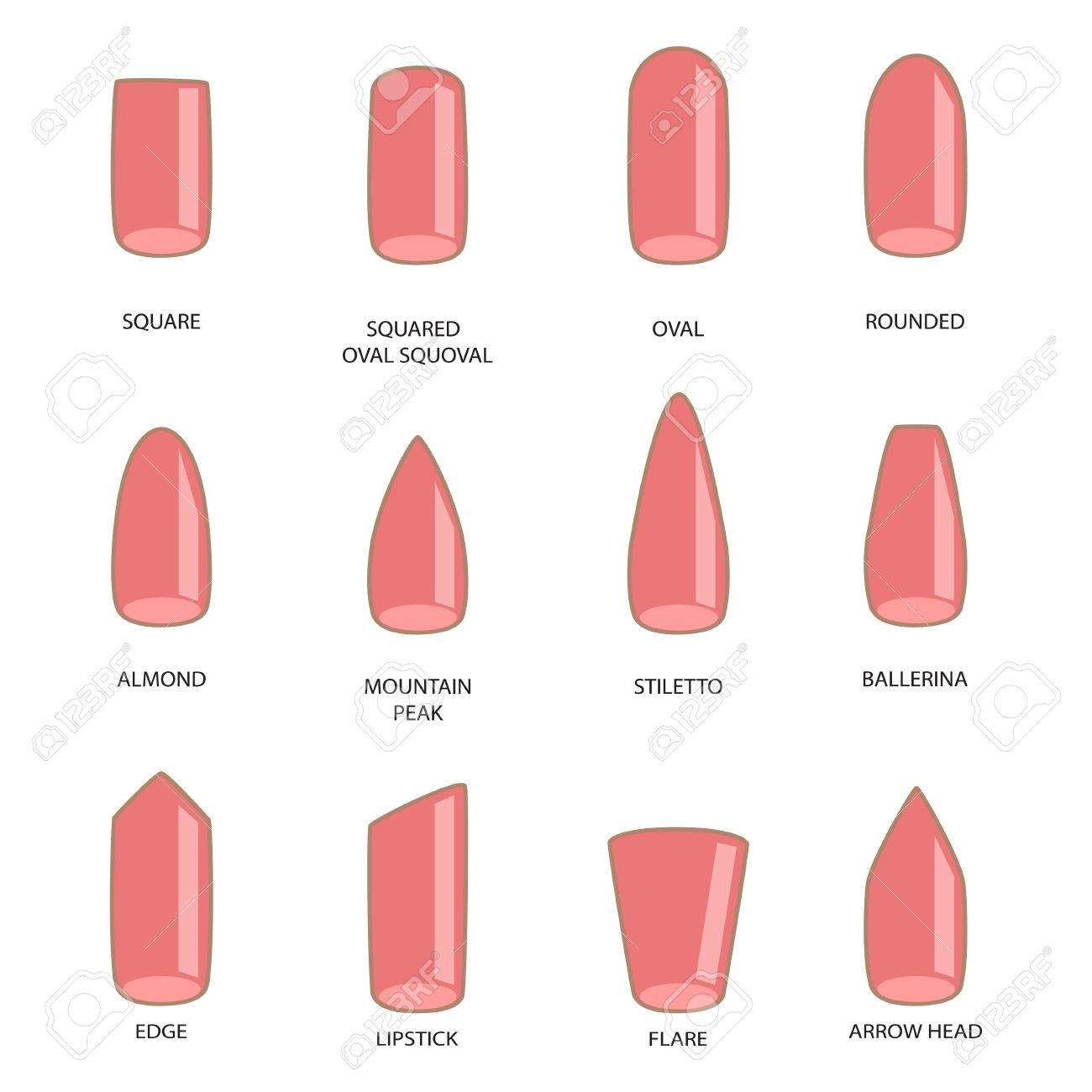 Set Of Different Shapes Nails On White Nail Shape Icons Manicure Polish