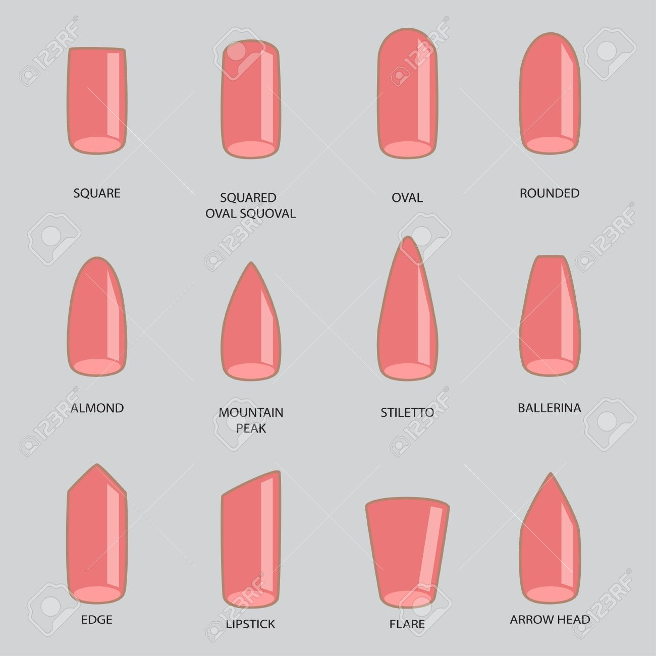 Set Of Different Shapes Nails On Gray Nail Shape Icons Manicure Polish