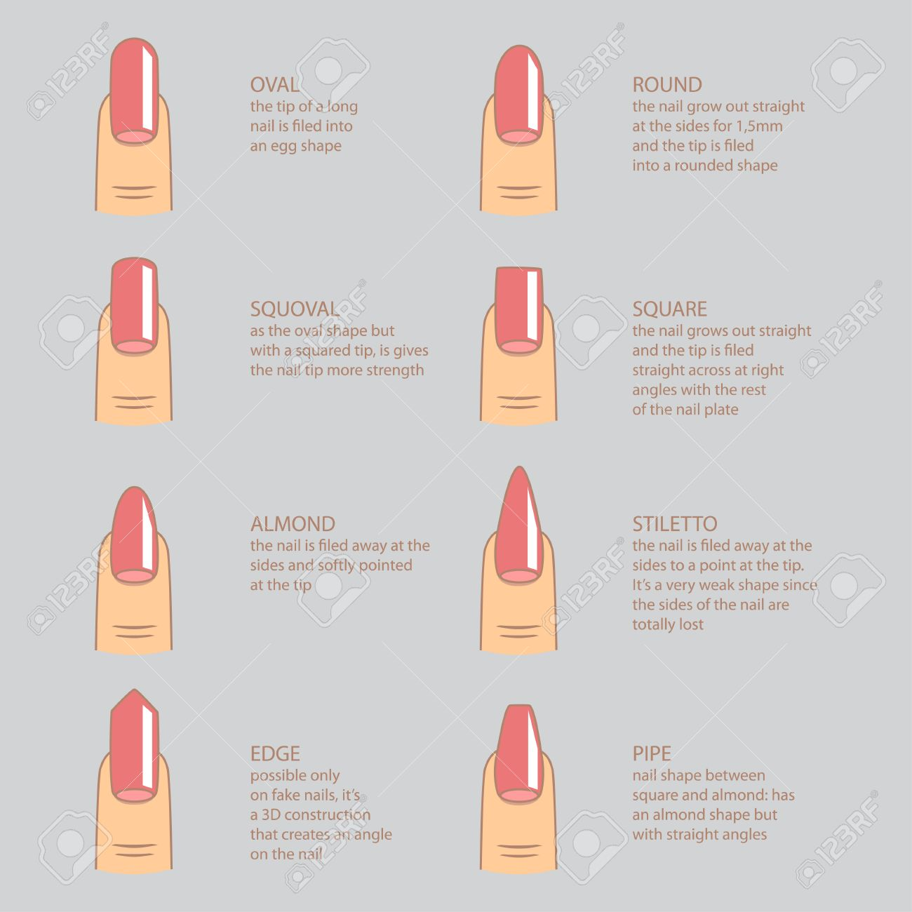 Set Of Different Shapes Of Nails On Gray. Nail Shape Icons. Manicure ...