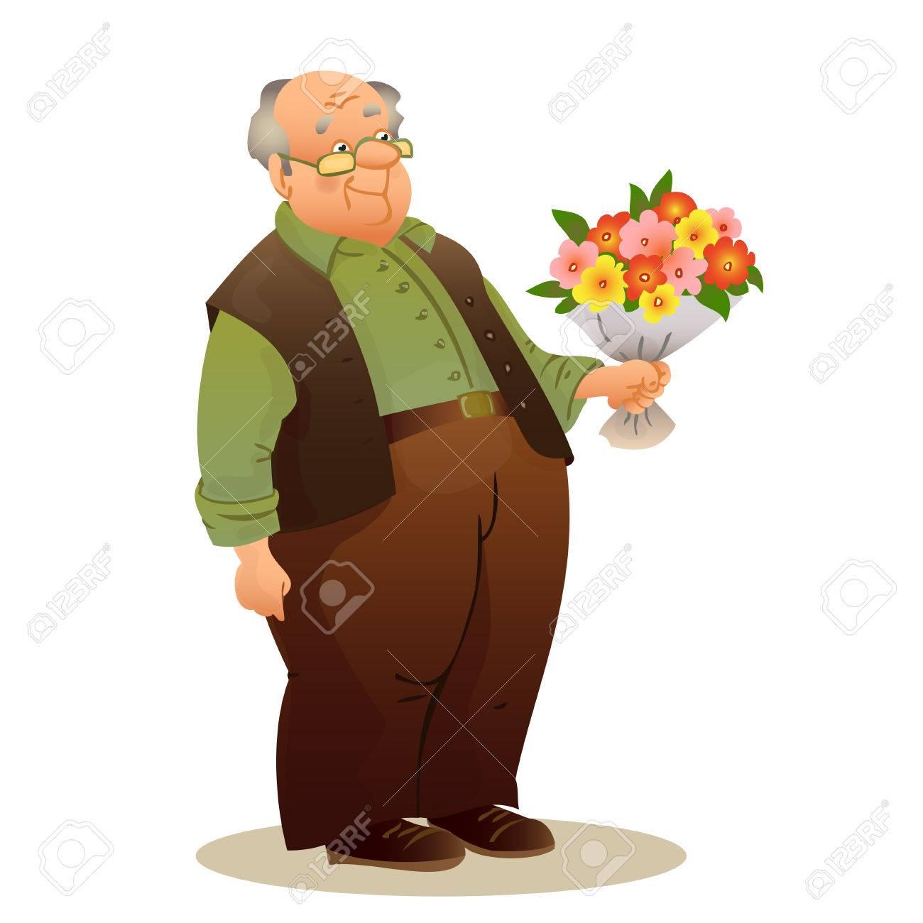 Lustige Alte Mann Mit Brille Alterer Mann Der Einen Blumenstrauss
