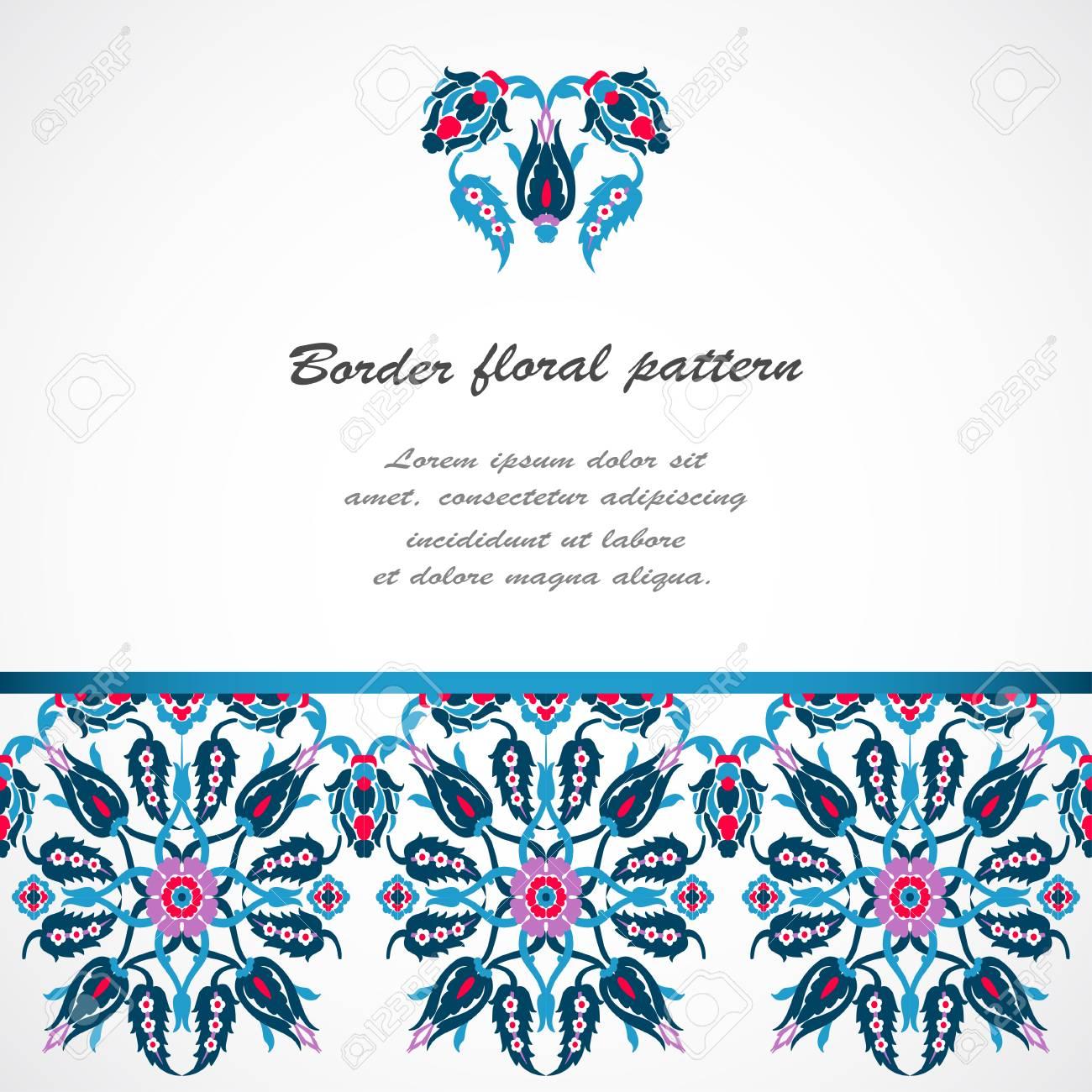 8d477e1590c1 Arabesque vintage seamless border design template vector. Eastern style  pattern. Elegant floral decoration print