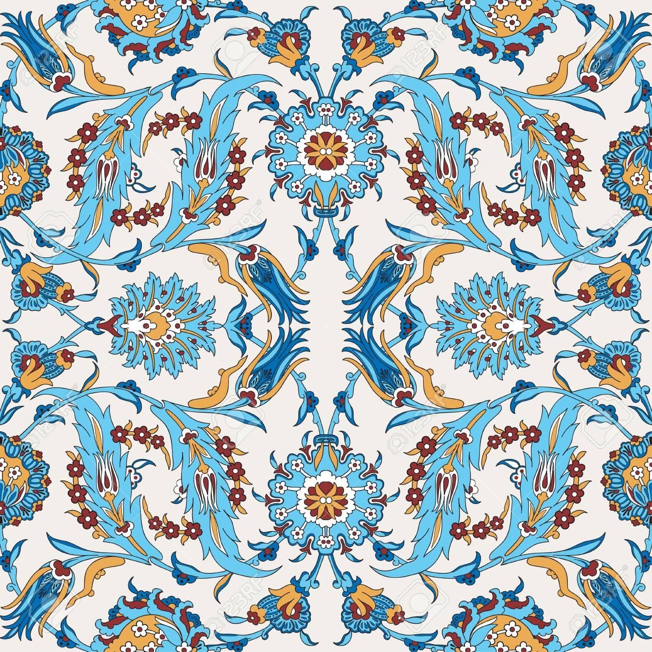 Papier A Peindre Motif arabesque vintage décor fleuri modèle pour vecteur de modèle de conception.  motif oriental peinture décoration de fleurs. illustration ornementale